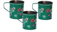ECraftIndia Handpainted Decorative Stainless Steel Mug (180 Ml, Pack Of 3) - MUGEGCAQBDUZGWJX