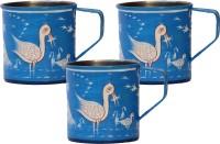 ECraftIndia Handpainted Decorative Stainless Steel Mug (180 Ml, Pack Of 3)