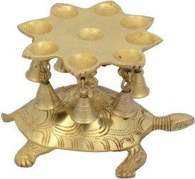 Jaipur Crafts Decorative Tortoise With Bell And Deepak Showpiece - 17.78 cm