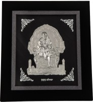 Siri Creations Pure Sai Silver Baba Frame Showpiece  -  15 Cm Silver, Silver