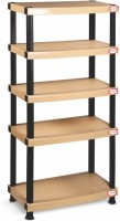 Surprise Heavy Duty Shelf 5 Plate Plastic Side Table (Finish Color - Beige)