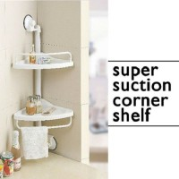 Tuzech Suction Side Corner Shelf For Kitchen / Bathroom Or Office Plastic Corner Table (Finish Color - Plastic Coated)