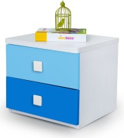 Alex Daisy Young America Engineered Wood Bedside Table (Finish Color - Blue-White)