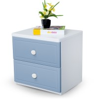 Alex Daisy French Engineered Wood Bedside Table (Finish Color - Blue And White)