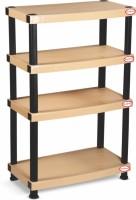 SURPRISE Heavy Duty Shelf 4 Plate Plastic Bedside Table (Finish Color - Beige)