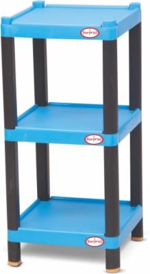 Surprise Heavy Duty Square Shelf Plastic Bedside Table (Finish Color - Blue)