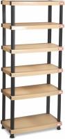 Surprise Heavy Duty Shelf 6 Plate Plastic Bedside Table (Finish Color - Beige)