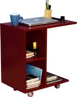 Mubell Red Side Table/Laptop Table On Wheels Engineered Wood Side Table (Finish Color - Red)