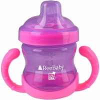 ReeBaby Sippy Cup With Soft Silicone Spout (Purple, Pink)