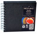 Fabriano Black Drawing Book Spiral Bound Squared 15 X 15 Cm Sketch Pad - White, 40 Sheets