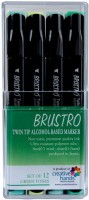 Brustro Twin Tip Alcohol Based Marker A Fineliner And A Chiseltip Nib Sketch Pens (Set Of 12, Green Tones)