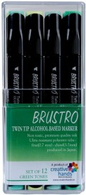 Brustro Twin Tip Alcohol Based Marker A fineliner and A chiseltip Nib Sketch Pens