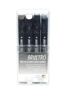 Brustro Twin Tip Alcohol Based Marker A Fineliner And A Chiseltip Nib Sketch Pens (Set Of 12, Warm Grey)