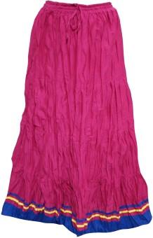 Indiatrendzs Solid Women's A-line Pink Skirt
