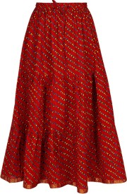 Amore@Home Printed Women's Pencil Red Skirt
