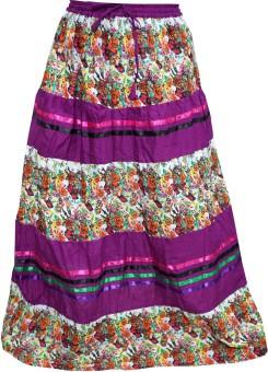 Indiatrendzs Floral Print Women's A-line Purple, White Skirt