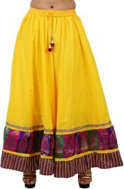 Gurukripa Shopee Self Design Women's A-line Yellow Skirt