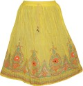 Indiatrendzs Embroidered Women's Regular Yellow Skirt