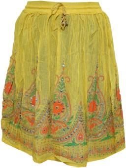 Indiatrendzs Printed Women's A-line Yellow Skirt