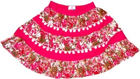 Young Birds Floral Print Girl's Layered Pink Skirt