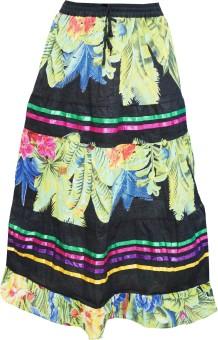 Indiatrendzs Floral Print Women's A-line Black Skirt