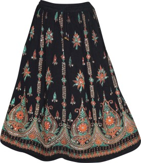 Indiatrendzs Embellished Women's A-line Black Skirt