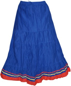 Indiatrendzs Solid Women's Regular Blue Skirt