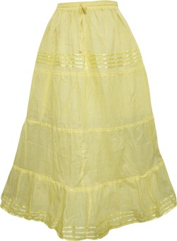 Indiatrendzs Solid Women's A-line Yellow Skirt