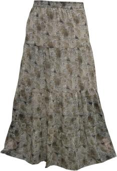Indiatrendzs Printed Women's A-line Brown Skirt