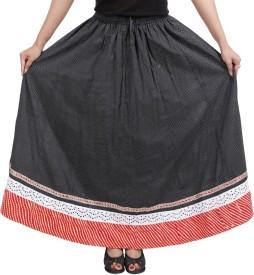Gurukripa Shopee Self Design Women's A-line Black Skirt