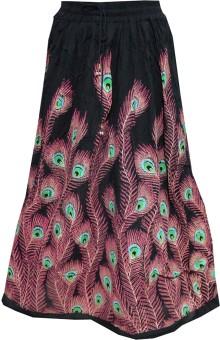 Indiatrendzs Printed Women's A-line Black Skirt
