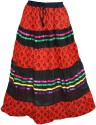 Indiatrendzs Printed Women's A-line Red, Black Skirt
