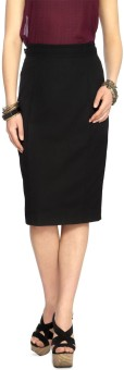 Annabelle By Pantaloons Solid Women's Pencil Skirt