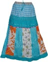 Indiatrendzs Printed Women's A-line Light Blue Skirt