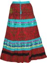 Indiatrendzs Floral Print Women's A-line Red Skirt
