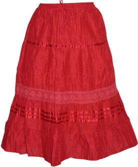 Indiatrendzs Solid Women's Regular Red Skirt