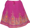 Indiatrendzs Embellished Women's A-line Pink Skirt