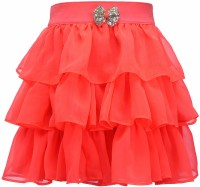 Peaches Solid Girl's Layered Skirt