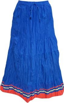 Indiatrendzs Solid Women's A-line Blue Skirt