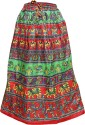 Indiatrendzs Animal Print Women's A-line Red, Green Skirt