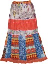 Indiatrendzs Floral Print Women's A-line Orange Skirt