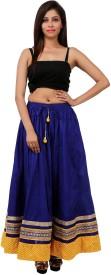 Gurukripa Shopee Self Design Women's A-line Blue Skirt