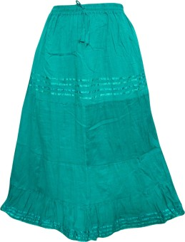 Indiatrendzs Solid Women's A-line Green Skirt