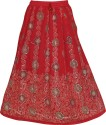 Indiatrendzs Embellished Women's A-line Red Skirt
