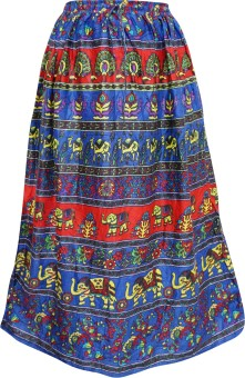 Indiatrendzs Animal Print Women's A-line Blue Skirt