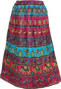 Indiatrendzs Animal Print Women's A-line Pink Skirt