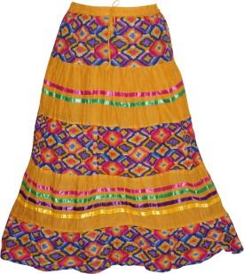 Indiatrendzs Floral Print Women's A-line Orange Skirt