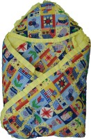 Koochie Koo Multi Designs Check Printed Yellow Baby Wrap With Velcro Sleeping Bag (Yellow)