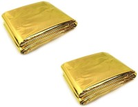 Enem Emergency Mylar Thermal Blankets Heavy Duty 160X210cm For Safety & Survival-Camping, Outdoor Sports, Hiking , Travel- Pack Of 02 Sleeping Bag (Gold)