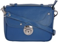 WeMe Women Casual Blue Genuine Leather Sling Bag